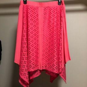 NWOT Maurices handkerchief hem bright pink skirt